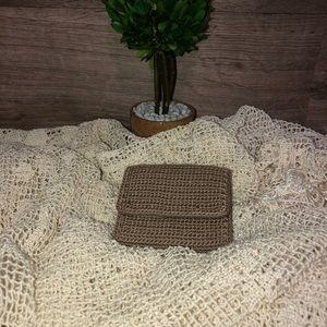 The Sak Trifold Taupe Crochet Wallet